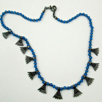 Cobalt Blue Glass Beads 925 Urartu Necklace Rare Bold Standout Piece Handmade In The Style Of Ancient Urartian Jewelry Western Asia Unique
