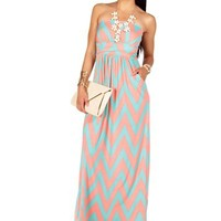 CoralMint Vertical Chevron Print Maxi Dress
