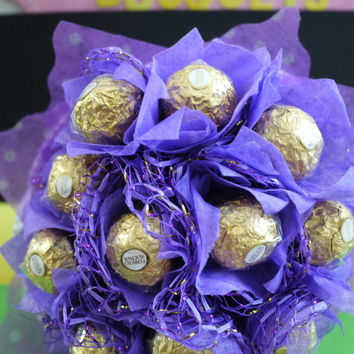 Ferrero Rocher Chocolate Flower Bouquet - Chocolate Birthday Gift For Her -