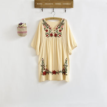 New 2017 Spring Summer Vintage 70s Mexican Ethnic Floral EMBROIDERED Hippie Blouse DRESS Women Clothing Vestidos S M L Plus Size