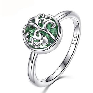 Women's Sterling Silver Family Tree of Life Birthstone Crystal Fashion Ring