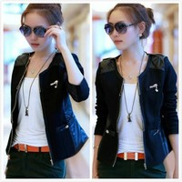 2013 New Fashion Women Korean Retro Patchwork Zipper Slim Short Coat Jacket
