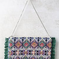 Away and Abroad Blue and Green Print Beaded Clutch