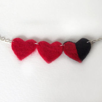 Legend Of Zelda Inspired 3 Heart Container Necklace Needle Felted
