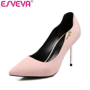 ESVEVA 2017  Western Style Concise Pointed Toe Pink Women Pumps  Party Thin High Heel Pumps Women's Wedding Shoes Big Size 34-43