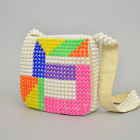 vintage 1960's multicolored GEOMETRIC bright PLASTIC BEADED shoulder bag purse