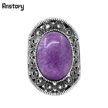 Hollow Flower Oval Natural Violet Stone Rings For Women Vintage Antique Silver Plated Fashion Jewelry Wedding Party Gift TR623