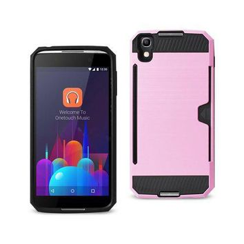 REIKO ALCATEL ONE TOUCH IDOL 4 SLIM ARMOR HYBRID CASE WITH CARD HOLDER IN PINK