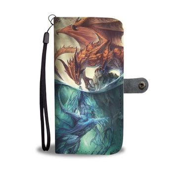 KUYOU Fire And Water Dragons Dear Friends Dragons Wallet Phone Case