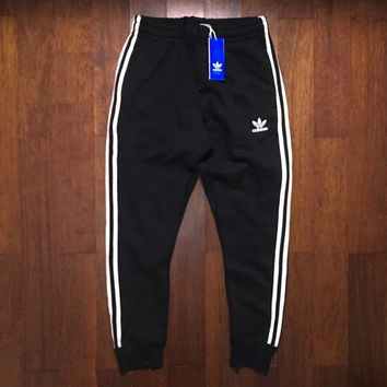 adidas Originals Three Stripe Black Casual Sport Pants Sweatpants