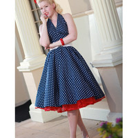 50's Vintage Style Navy Polka Dot Dresses-Classic Dame Navy Polka Dot Halter 1950s Style Swing Dress