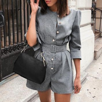 Office ladies blazer jumpsuits rompers women Button sash female short plasuit Elegant retro work overalls