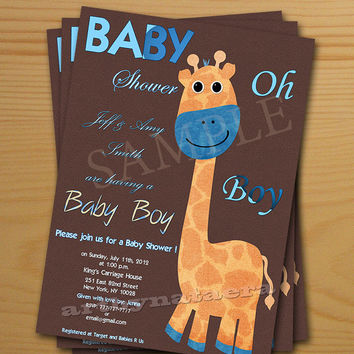Baby Boy Shower Invitations - FREE thank you card included Baby Shower Invitations printable files digital image DIY giraffe new baby born
