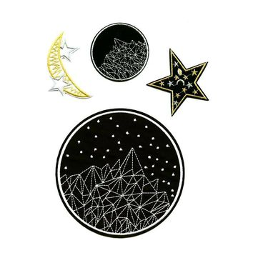 Star Moon Night Sky Hipster Embroidered Iron On DIY Sew On Patches 1pc