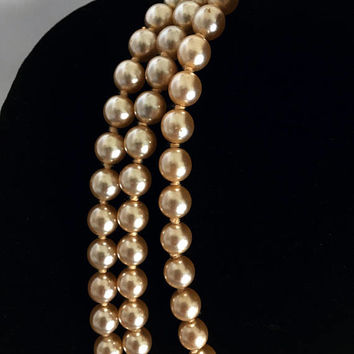 "KJL 60"" Kenneth Jay Lane Hand Knotted Glass Faux Champagne Pearl Necklace - Rope Style Necklace  - Yellow Gold Plated Logo Clasp"
