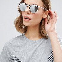 ASOS Round Sunglasses With Metal Arms And Mirror Lens In 90s Mono Marble at asos.com