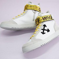 Off-White Arrows High Top Sneakers White High Skateboarding Shoe