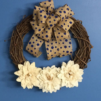 Year Round Wreath, Everyday Wreath, Burlap Grapevine Wreath, Burlap Flowers, Front Door decoration