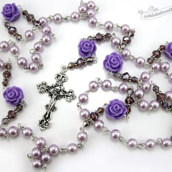 Lavender Rose Rosary, purple rosary, confirmation rosary, communion rosary, catholic gift, pearl rosary, confirmation gift, rosary necklace