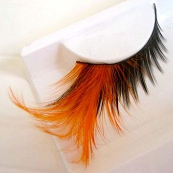 Orange False Eyelashes Pure Handmade Cotton Stalk Makeup Fake Eyelashes Color Feather Eyelashes Winged Exaggerated Soft Lashes