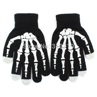 Skeleton Screen Gloves Hand Warmer Black Mitten For Smart Phone