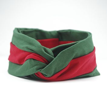 GUCCI Red and Green Women Accessory Headwrap Headband Wide Hair Bands