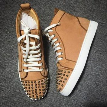 DCCK Cl Christian Louboutin Lou Spikes Style #2203 Sneakers Fashion Shoes