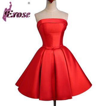 Free Returns Red Short Cocktail Dress  New A Line Strapless Satin Prom Party Dresses With Lace Up Back R009