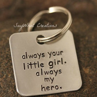 Custom Hand Stamped Square Aluminum Key Chain by SayWhatCreations