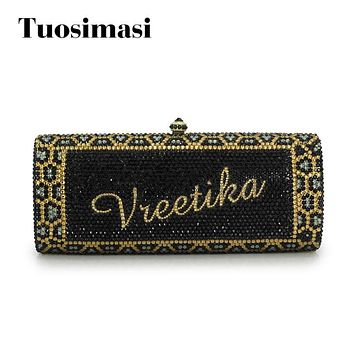 women custom name crystal big diamond clutch women evening clutch bag(1001BG)