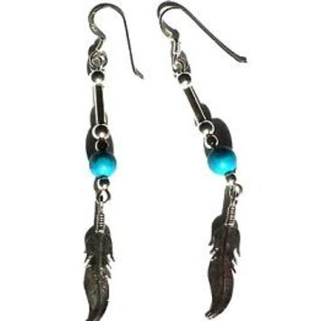 New .925 Sterling Silver Feather Dangle Earrings with Turquoise