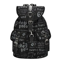 Women Girl Printed Canvas Backpack Shoulder School Satchel Bag Rucksack