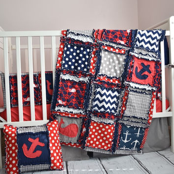 Nautical Crib Bedding For Baby Boys Nursery in Red, Grey, Navy Blue