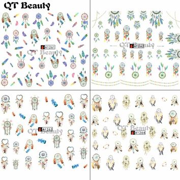 QT Beauty Lace/Flower/Dream Catcher Pattern water Nail Art Transfer Sticker Polish Watermark Nail Sticker&Decals QA1261-1264