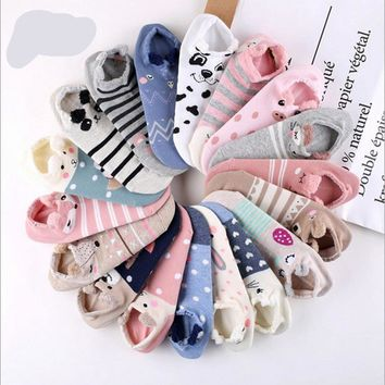 Cute Animals Rabbit Pig Fox Cat Pug with Ears Socks Funny Crazy Cool Novelty Cute Fun Funky Colorful