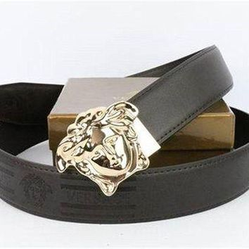 DCCK8X2 Versace Collection Black Leather Men's Versace Belt