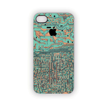 Mint iPhone Case, Copper, Patina, Turquoise, Circuit Board, Industrial, Edgy, Modern, Rust, Green, Aqua, Black, Apple, iPhone 5, 4S/4
