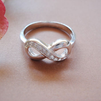 Infinity ring Sterling Silver with CZ custom ring, engrave any message, handmade jewelry, everyday, wedding, best friend, gift
