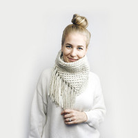 Fringe Tassel Cowl Knit Infinity Scarf // Artisan Collection // In OATMEAL