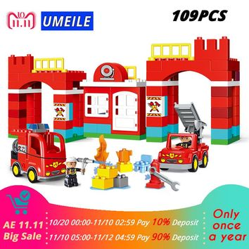 UMEILE 109PCS Fire Department Fire Engine Figure Model Diy Building Block Set Kids Toy Compatible With Duplo 10593 Gift