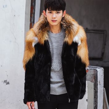 CR103  Winter warm Men'S fur coats pieces of real mink fur