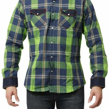 V.I.P. Collection Green Plaid Patch Elbow Shirt