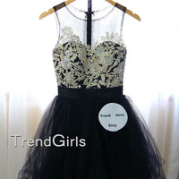 Custom Made A-lin Black Short Lace Prom Dresses, Homecoming Dresses, Dress For Prom, Lace Dresses