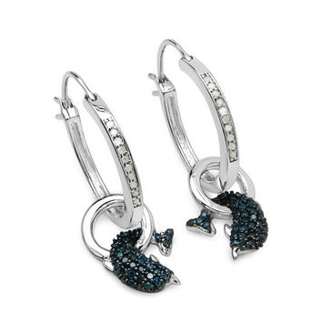 0.53 Carat Genuine Blue Diamond & White Diamond .925 Sterling Silver Earrings