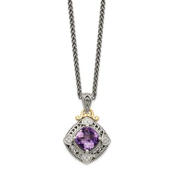 Sterling Silver Two Tone Silver And Gold Plated Sterling Silver w/Diamond & Amethyst Necklace