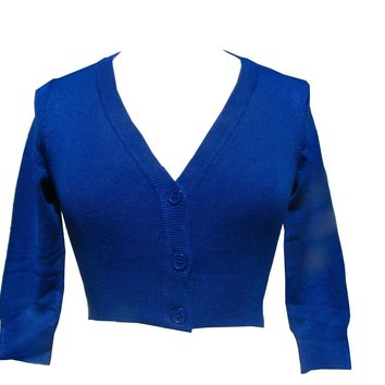 Admiral Blue Cropped V-neck Cardigan Sweater Pinup retro Rockabilly 50's