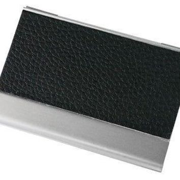 Visol Black Genuine Leather and Aluminium Business Card Holder