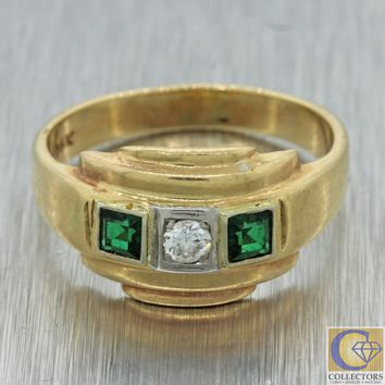 1930s Antique Art Deco Vintage Estate 14k Yellow Gold Diamond Emerald Band Ring