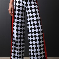 Checkered Striped Palazzo Pants