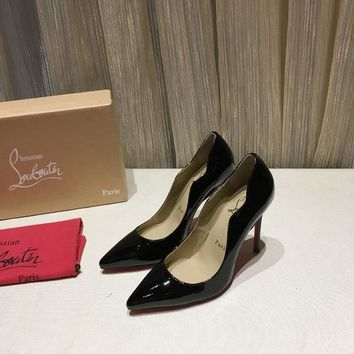 CL Christian Louboutin Women Trending Leather Black High Heel Shoes Best Quality